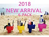 DTXDTech BEACH CUP HOLDER Multifunction Beach Cup Holder Sand Grass Drink Holder For Beverage Phone Sunglasses Sunscreen Key Vacation Accessory Beach Gear 6-Pack(Random Color)