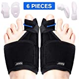 Bunion Corrector Bunion Relief Kit (Bunion Splints, Gel Toe Protect Separator Sleeves, Toe Separators) for Hallux Valgus, Day/Night Time Support for Men Women, (S-M (Size 4-7))