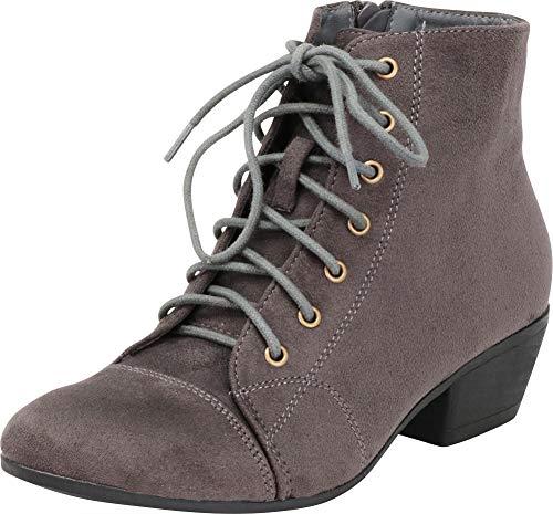 Cambridge Select Women's Lace-up Chunky Block Heel Ankle Bootie,6.5 B(M) US,Grey IMSU ()
