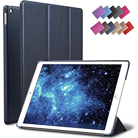 iPad Air 2 Case, ROARTZ Metallic Navy Blue Slim Fit Smart Rubber Coated Folio Case Hard Shell Cover Light-Weight Auto Wake/Sleep For Apple iPad Air 2nd Generation A1566/A1567 Retina (Ipad 2 Air Magnetic Cover)