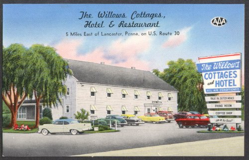 The Willows Cottages Hotel & Restaurant Lancaster PA postcard 1950s