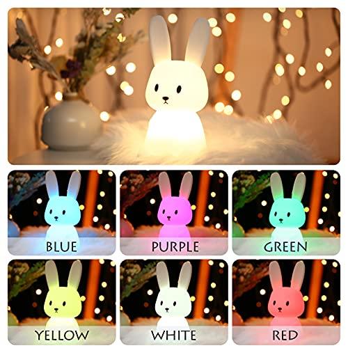 SOLIDEE Luce Notturna Bambini Silicone Ricarica USB Lampada Colorata 1200 mAh Decorazione per la cameretta dei Bambini Regalo Luce Notturna per Coniglio Bambini