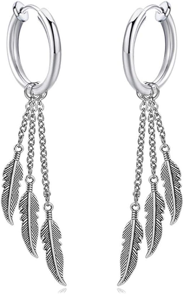 Fusamk Punk Rock Stainless Steel Feather Drop Dangle Earrings Huggie Hinged Hoop Earrings,2PCS