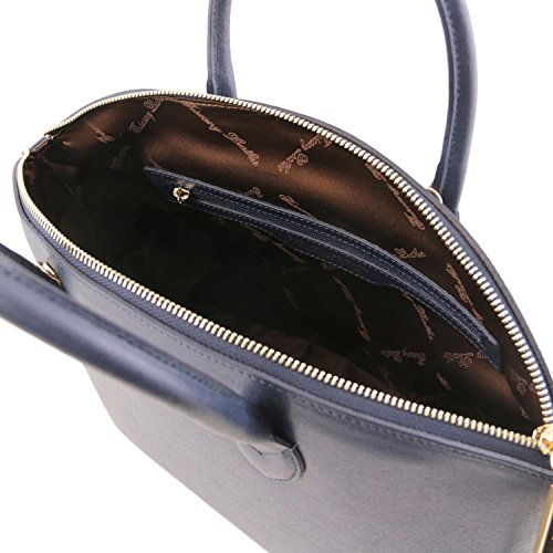 Saffiano pelle Blu Leather in shopper Tuscany Scuro KeyLuck Borsa TL pSaq0wv