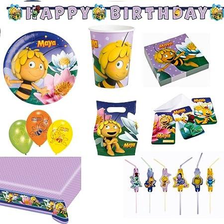 Partyset Biene Maja Mit Teller Becher Servietten Tischdecke Partytüten  Partykette Einladungskarten Luftballons Trinkhalme: Amazon.