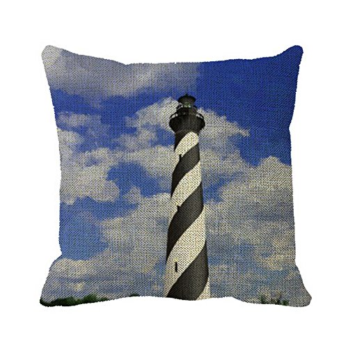 (Julyou Pillowcase Cape Hatteras Lighthouse Painting Pillow Cover for Bedroom or Sofa)