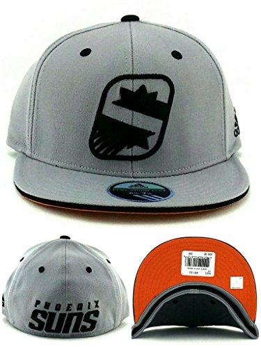 Phoenix Suns Adidas New NBA PHX S Logo Gray Black Flex Fit Era Fitted Hat Cap - Phx Hat Suns