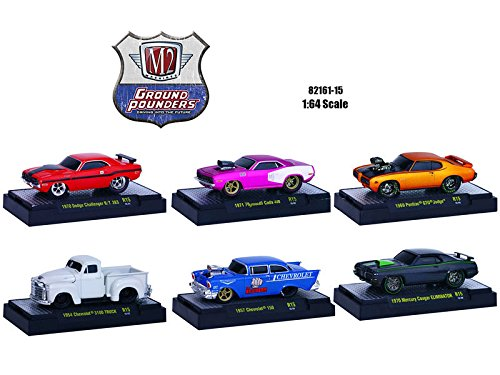 NEW M2 MACHINES 1:64 GROUND POUNDERS RELEASE 15 IN ACRYLIC CASES Diecast Model Car By M2 Machines Set of 6 Cars (1971 Dodge Challenger Diecast compare prices)