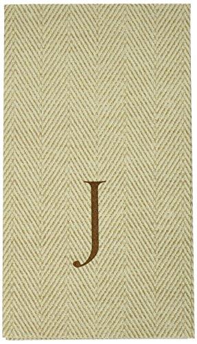 (Entertaining with Caspari Jute Herringbone Paper Linen Guest Towels, Monogram Initial J, Pack of 24 )
