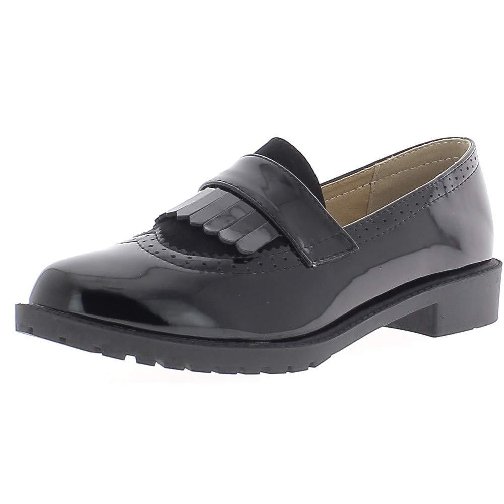 Mujer de Mocasines Negros de Derbies barnizada a Fringe y elevadores DE 2.5 cm - 40: Amazon.es: Zapatos y complementos