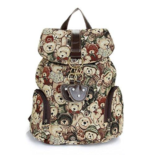 Sunwel Bear Pattern Student Book Backpack for Teenage Gir...