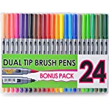 #7: Immersive Color Dual Tip Brush Pens with Fineliner Tip (Pack of 24)