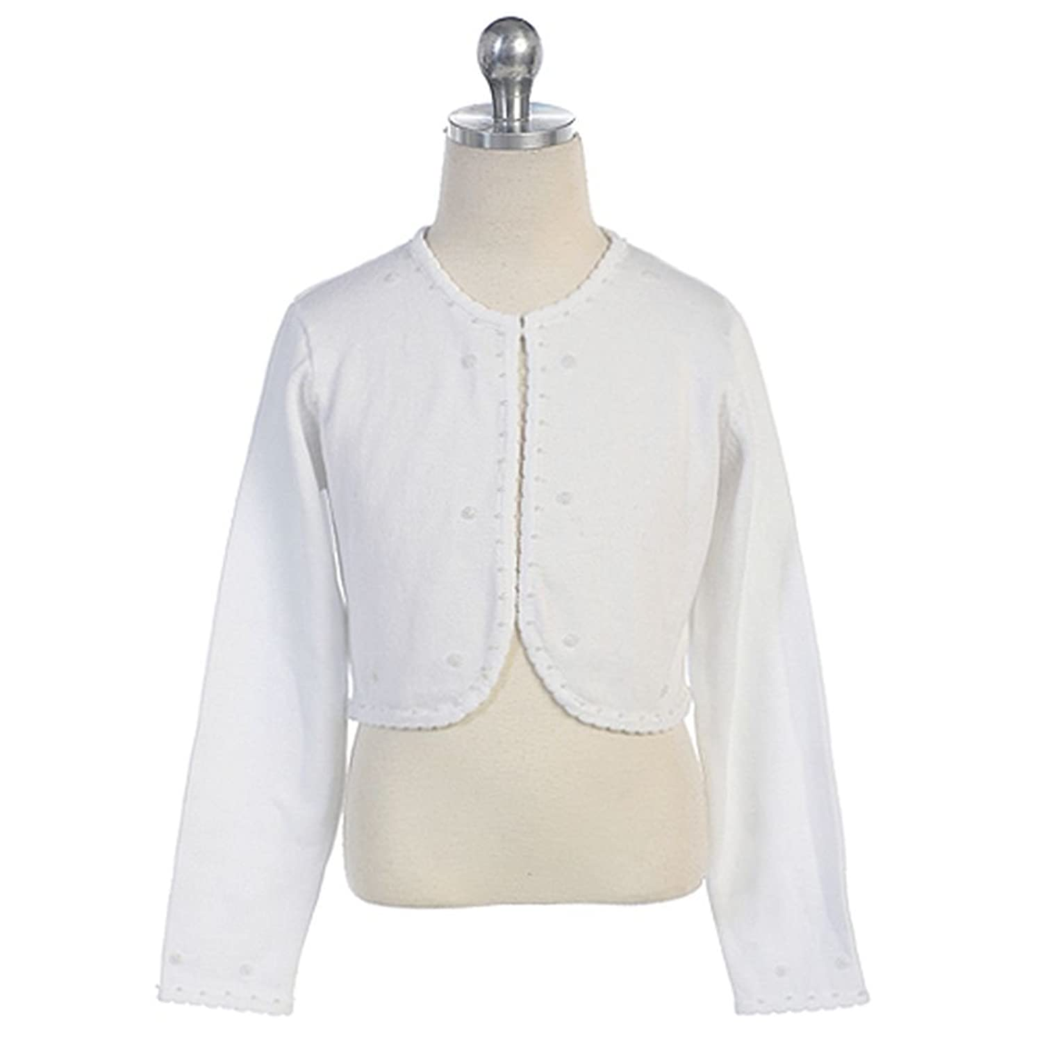 Amazon.com: Chic Baby Toddler Girls White Beaded Bolero Shrug ...