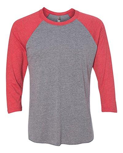 Next Level Apparel 6051 Unisex Tri-Blend 3 By 4 Sleeve Raglan - Vintage Red & Premium Heather, Medium