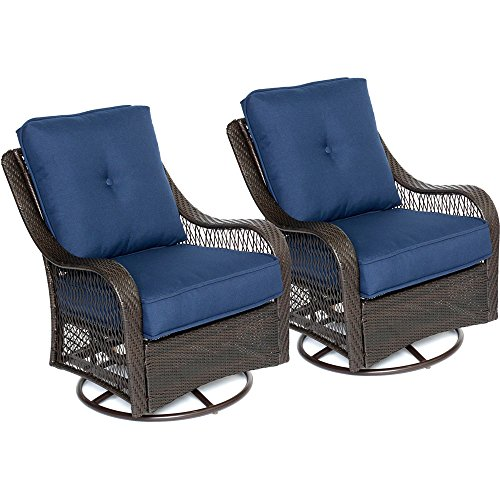 Hanover ORLEANS2PCSW-B-NVY Orleans Swivel Rocking Chairs in Navy Blue - Set of Two Outdoor Furniture