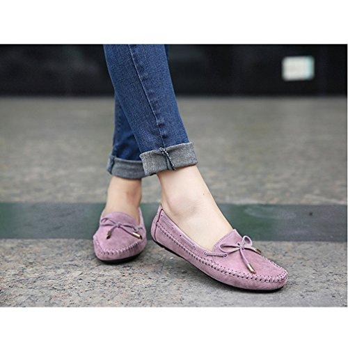 Cybling Casual Dames Slip Loafers Schoenen Voor Buiten Wandelen Strik Flats Paars