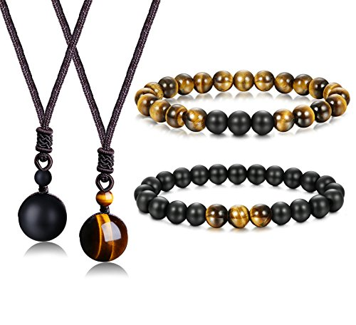 Jstyle 8mm Tiger Eye Beads Distance Friendship Bracelet for Women Men Natural Onyx Stone Beads Pendant Adjustable Healing Necklaces - Eye Pendant Set