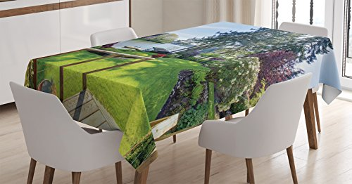 Ambesonne Farm House Decor Tablecloth, Sunny Spring Season Day Pier View in Countryside Rural Cottage Nature Image, Dining Room Kitchen Rectangular Table Cover, 52 W X 70 L Inches, Multi