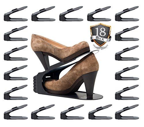 (Benji Bros Shoe Slots space saver Storage Units 18 Piece Set Shoe Rack Space Saving Slots Organizer (18 Piece Set))