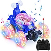UTTORA Remote Control Car for Kids, 2.4GHz 2 in 1 RC Stunt Car, Double Sided 360°Flips Rotating with LED Headlights,...
