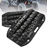 LITEWAY Recovery Traction Tracks - 2 Pcs Black Traction Mat for Sand Mud Snow Track Tire Ladder 4X4 - Traction Boards
