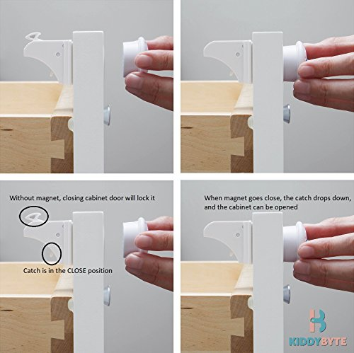 Magnetic Child Safety Cabinet Locks - 20 Lock + 3 Key for Baby Proofing Cabinets, Drawers and Locking Cupboard, Easy Install for Toddler and Childproof with Adhesive Latch, No Tools or Drill by KiddyByte (Image #7)