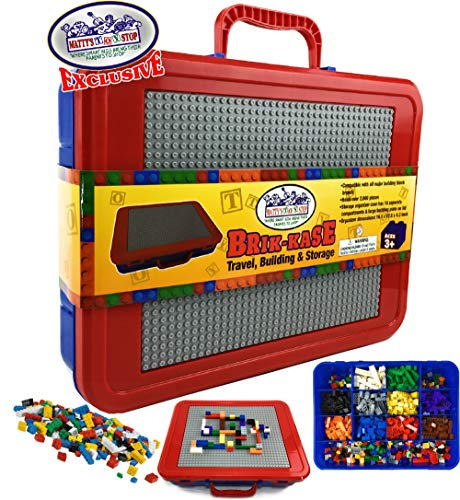 Mattys Toy Stop Brik-Kase Travel, Building, Storage & Organizer Container Case with Building Plate Lid (Holds Approx 2000pcs) - Compatible with All Major Brands (Blue, Red & Gray)