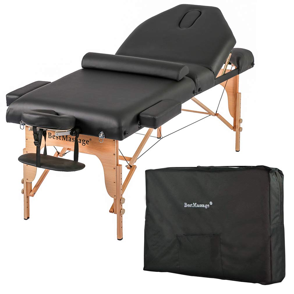 Massage Table Massage Bed Spa Bed Height Adjustable 77 Inches Long 30 Inches Wide Salon Bed 2 Fold 4 Inches Thick Foam Pad Portable Massage Table W/Carry Case Bolster by BestMassage