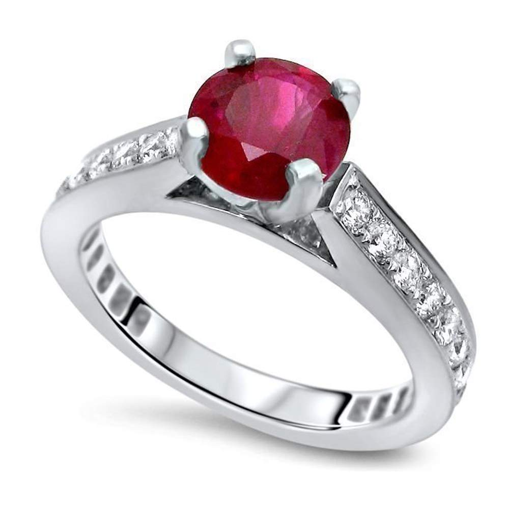 Krivox 1.50 ct Syn Ruby and Simulated Diamond 14k White Gold Finish Solitaire with Accent Engagement Ring