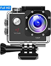 Victure Action Cam 4K 20MP WiFi Touch Screen Ultra Full HD 30 Meters Unterwasserkamera Einstellbare 170°Fischaugen-Linse EIS Sports Kamera 2×1350mAh Ersatzbatterien and Halterungs-Kit …
