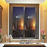 Lighthouse Decor 3D No Glue Static Decorative Privacy Window Films, Portland House at Dawn Rocks Houses Fences Lamp Image Navigation,17.7'x59',for Home & Office Decor,