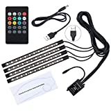 led lights in car - Kinstech Car LED Strip Lights 4PCS 48LEDs Multicolor Music Car Interior Atmosphere Lights RGB SMD LED Car Mood Lights with Sound Active Function and Wireless Remote Control for Car TV Home-USB Port