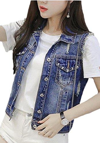 護衛ホテル限定Fly Year-JP 女性のレトロなチョッキノースリーブショートデニムベストジャケット