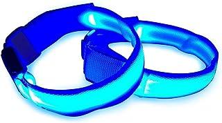 Aeromdale LED Brassard clignotant lumière de sécurité pour la course, vélo ou Marche nocturne Lot de 2