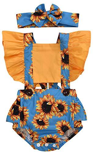 ECOTISH 2 Stks Pasgeboren Baby Meisje Ruches Mouw Bodysuits Jumpsuit Hoofdband Romper Playsuit + Hoofdband Outfits
