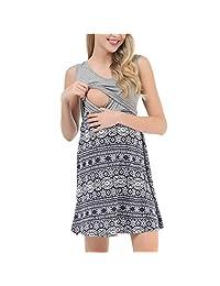 Ridkodg Maternity Dresses Nursing Pregnanty Sleeveless Print Dress Casual Sundress