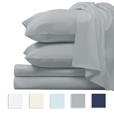 """Pizuna Premium 1000 Thread Count 4pc Sheet Set, 100% Long Staple Cotton Silver King Sheets, Luxurious Smooth Sateen Weave Bed Sheets fits Upto 17"""" Deep Pockets (Silver King 100% Cotton Sheet Set)"""