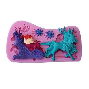 Aofocy Santa Sleigh Fondant Mould Moldes de Pastel 3D de Silicona de Chocolate Magdalena para Hornear Molde Color Al Azar: Amazon.es: Hogar