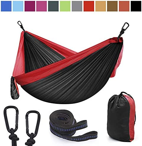 Lightweight Double Single Hammock-Adjustable Tree Straps-Two Person Best Portable Parachute Nylon Hammocks Hiking Backpacking Travel Backyard-Easy Set up 102 L X 55 W Hammocks-3-hong HEI