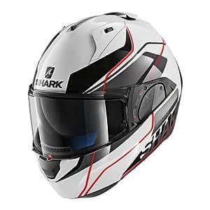 Shark Tiburón motocicleta cascos, color blanco/negro/rojo, tamaño XS