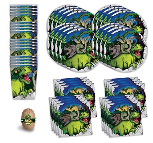 Bestie Planet Dinosaur Party Supplies - Cups, Napkins, Dinosaur Plates & 1 Dinosaur Surprise Egg - 49 Total Pieces - Great For a Dinosaur Themed Birthday Party