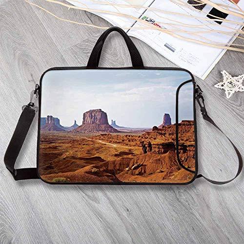 Desert Lightweight Neoprene Laptop Bag,Monument Valley View from John Fords Point Merritt Butte Sandstone Decorative Laptop Bag for Laptop Tablet PC,8.7