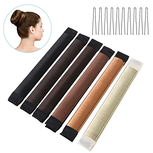 ETEREAUTY 6-color Hair Donut Bun Maker Former French Twist Hairstyle Toos with 10pcs U-shape Clips for Girl Ladies Magic DIY Hair Styling (Black & Deep Coffee & Light Brown & Deep Brown & Gold & Light