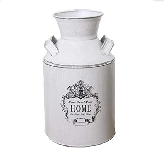 """Country Farm Milk Can Vase Container Black Rustic Star Display Home Decor 11/"""""""