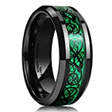 King Will DRAGON Men's 8mm Green Carbon Fiber Black Celtic Dragon Tungsten Carbide Ring Comfort Fit Wedding Band (9.5)