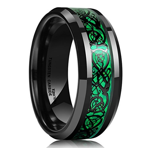 King Will Dragon Men's 8mm Green Carbon Fiber Black Celtic Dragon Tungsten Carbide Ring Comfort Fit 12 ()