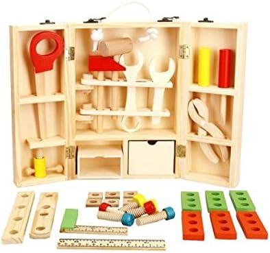 Babyhugs - Caja de herramientas portátil de madera con herramientas y accesorios para niños pequeños: Amazon.es: Bebé
