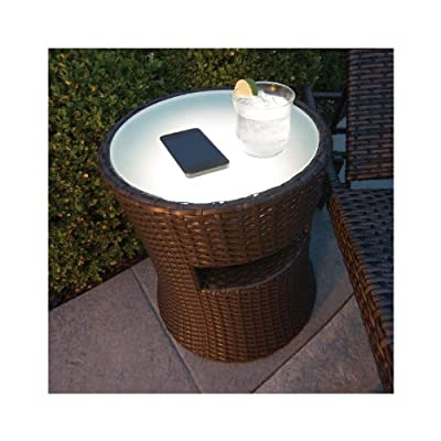 Patio Table, Outdoor Patio Side Table with Outdoor Speaker Built in and LED Light. Indoor and Outdoor Table Speaker for All Patio Furniture. Lawn Furniture Accessory. Blue Tooth Wireless Use. Outdoor Stereo, and Sound System Accessory
