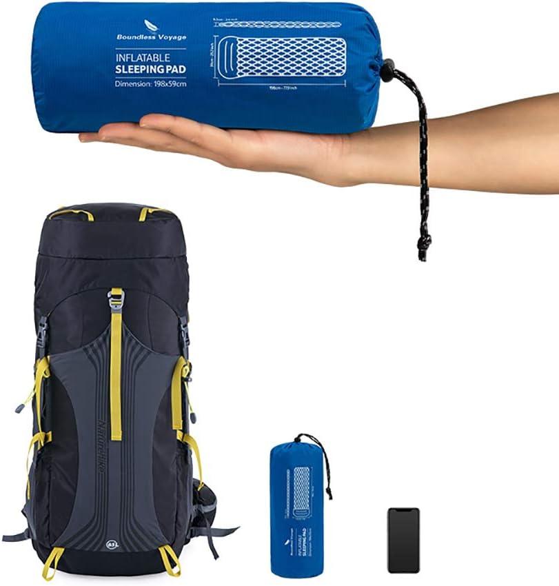 Boundless Tapis de Voyage Gonflable Simple avec Coussin de Couchage pour randonn/ée Camping