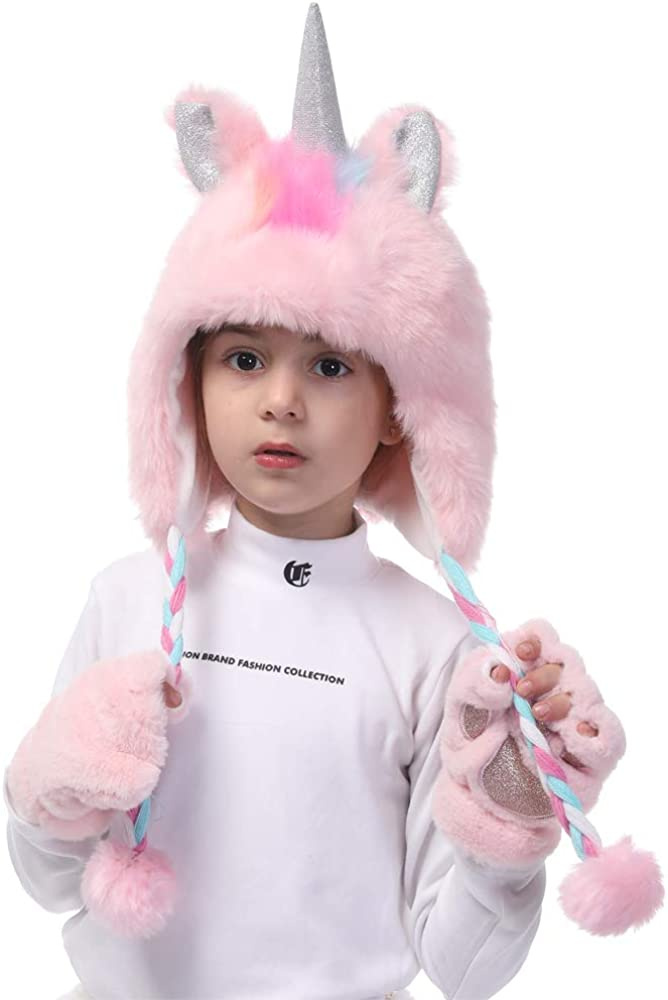 Unicorn Faux Fur Hoodie Hats for Girls with Gift Bags as Birthday Halloween and for Beanie Cosplay Photography Prize